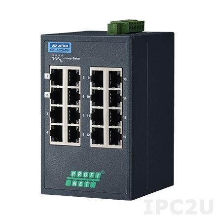 EKI-5526-PN-AE Управляемый коммутатор Ethernet, 16 портов Fast Ethernet RJ-45, поддержка PROFINET, -10...+60C