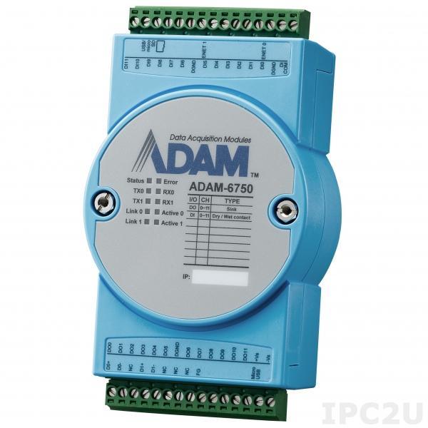 ADAM-6750-A Контроллер с программированием через Node Red, 12 каналов дискретного ввода (3КГц), 12 каналов дискретного вывода (3КГц)