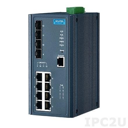 EKI-7712E-4FPI-AE Управляемый коммутатор Ethernet, порты 8FE+4G SFP PoE, IEEE802.3af/at, 46~57VDC, -40...+75C