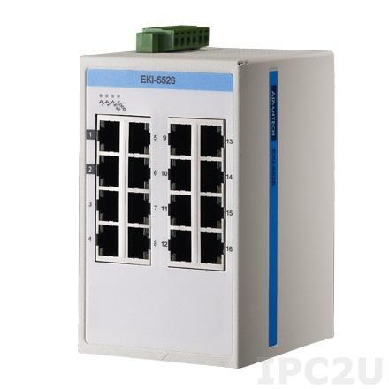 EKI-5526I-AE Неуправляемый коммутатор Ethernet, 16 портов 10/100Mbps, -40...+75C