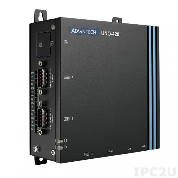 UNO-420-E0A Встрaиваемый компьютер с Intel Atom E3815 1.46ГГц, 2GB DDR3L, 32GB eMMC, HDMI, 1xUSB3.0, 3 x COM, 2 x LAN (1xPoE), 8 x GPIO, слот M.2, 2xmPCIe, питание 10-30В DC, -20...60C