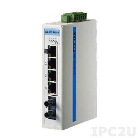 EKI-5525MI-ST-AE Неуправляемый коммутатор Ethernet, 4 порта 10/100Mbps + 1 порт 100FX Multi-mode, ST, -40 ~ +75C