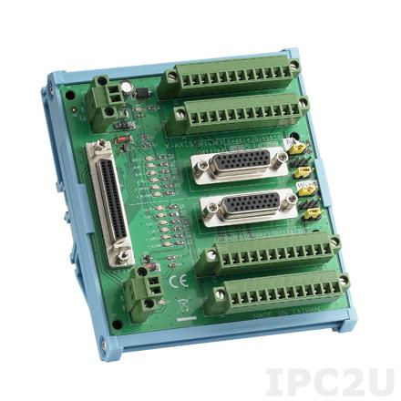 ADAM-3955-AE Плата клеммников с разъемами 100-pin SCSI, монтаж на DIN-рейку, для двуосных систем управления движением, до 50В