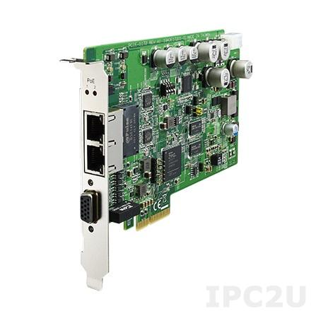 PCIE-1172-AE Сетевая карта видеозахвата, 2 порта 10/100/1000 с PoE, PCI Express x4, 8кВ ESD, 1кВ EFT, поддержка GigE Vision, GoE, ToE, GENiCAM и GENTL, DIO