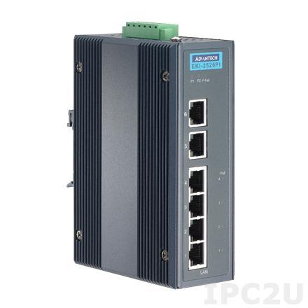 EKI-2526PI-AE Неуправляемый Ethernet-коммутатор, 6 портов 10/100Mbps Ethernet, 4 порта PoE, -40..+75C