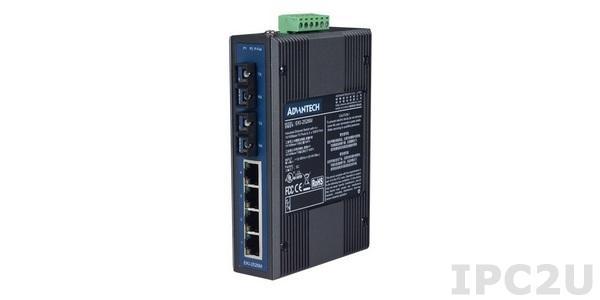 EKI-2526M-AE Неуправляемый коммутатор, 4 порта 10/100Mbps Ethernet и 2 оптоволоконных порта 100FX (многомодовое оптоволокно, SC разъем)