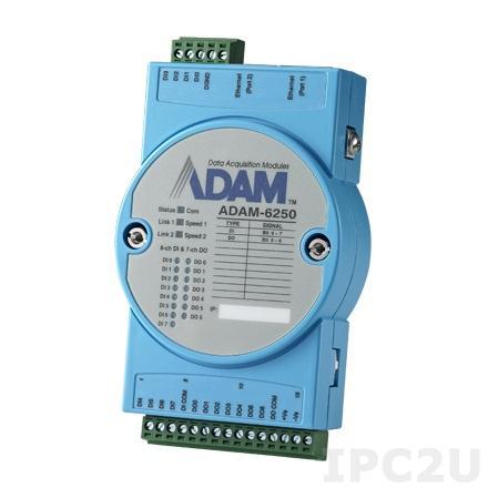 ADAM-6250-B Модуль ввода-вывода, 8 каналов дискретного ввода, 7 канала дискретного вывода, 2xEthernet, Modbus TCP