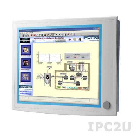 """FPM-5191G-R3BE Промышленный 19"""" TFT LCD монитор c IP65 по передней панели, SXGA 1280x1024, , резистивный сенсорный экран (RS - 232/USB интерфейс), алюминевая передняя панель, VGA, DVI-D, вход питания 10-30 В (клемная колодка), 12 В DC"""