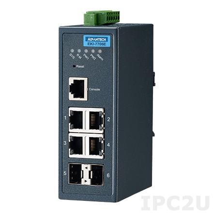EKI-7706E-2FI-AE Управляемый коммутатор 4 порта 10/100 BaseT(X) + 2 оптических порта SFP(mini-GBIC), -40...+75C