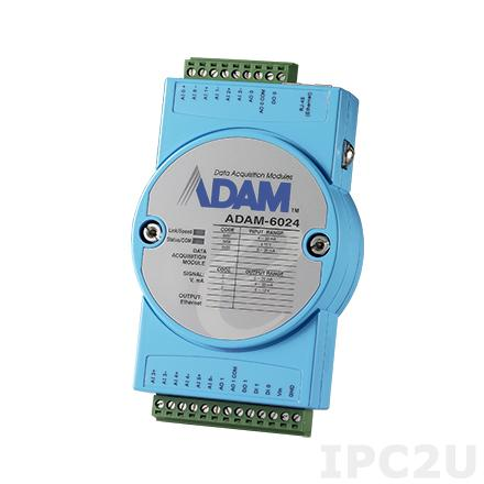 ADAM-6024-D Модуль ввода-вывода, 6 каналов аналогового ввода, 2 канала аналогового вывода, 2 канала дискретного ввода, 2 канала дискретного вывода, 1xEthernet, Modbus TCP, 10-30VDC