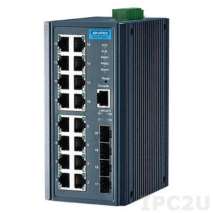 EKI-7720G-4FI-AE Управляемый коммутатор Ethernet, 16 портов RJ-45, 4 порта SFP(mini-GBIC), металлический корпус, IP30