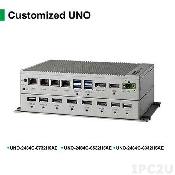 UNO-2484G-6732H5AE Встрaиваемый компьютер с CPU Intel Core i7-6600U 2.6ГГц, 5xHDMI, 8Гб RAM, 4xCOM, 4xGbE LAN, 2xUSB 2.0 4xUSB3.0, 1x mPCIe, -20...+60C