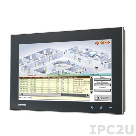 """TPC-1581WP-433BE Безвентиляторная панельная рабочая станция с 15.6 WXGA TFT LED LCD, емкостный сенсорный экран, Intel Core i3-4010U 1.7ГГц, 4Гб DDR3L-1600, 1x2.5"""" SATA SSD, 1xCFast, 2xCOM, 2xUSB 3.0, HDMI, 2xLAN, 1xMini-PCIe, Аудио, питание 24В DC"""