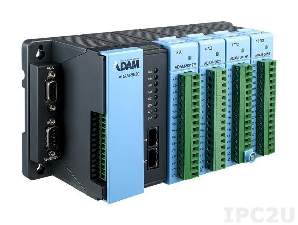 ADAM-5630-AE Программируемый контроллер с корзиной расширения для модулей ADAM-5000, 4 слота, MicroSD, 4xCOM, 2xLAN, поддержка Modbus/RTU, Modbus/TCP Master, Slave