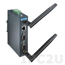 EKI-1362-MB-BE Шлюз Modbus TCP в Modbus RTU/ASCII, 2xRS-232/422/485 разъем DB9 Male, Wi-Fi 802.11a/b/g/n, 1xLAN
