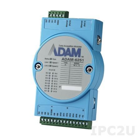 ADAM-6251-B Модуль ввода, 16 каналов дискретного ввода, 2xEthernet, Modbus TCP