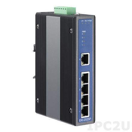 EKI-2525P-BE Неуправляемый коммутатор Ethernet, 4 порта Fast Ethernet PoE + 1 Fast Ethernet, IEEE802.3af, питание 48VDC