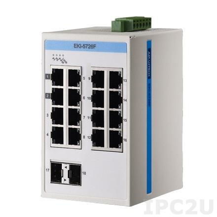 EKI-5726FI-AE Неуправляемый коммутатор Ethernet, порты 16x1000BaseT(X), 2xGigabit SFP, ATEX/C1D2/IECEx, -40...75