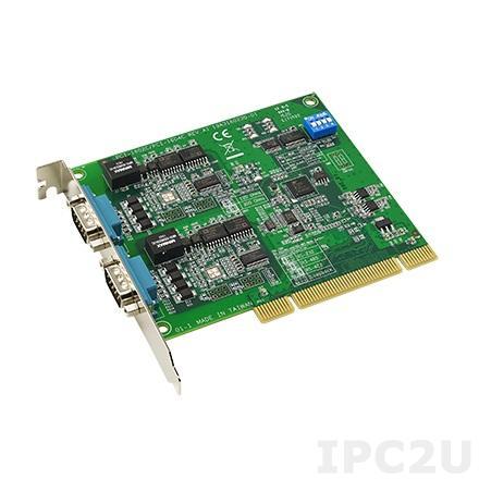 PCI-1604C-AE Universal PCI адаптер 2xRS-232 разъем DB9 Male, c защитой от перенапряжения и изоляцией