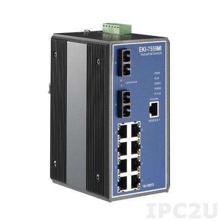 EKI-7559MI-AE Управляемый коммутатор Ethernet, 8 портов Fast Ethernet RJ-45, 2 оптоволоконных порта SC, -40...+75C