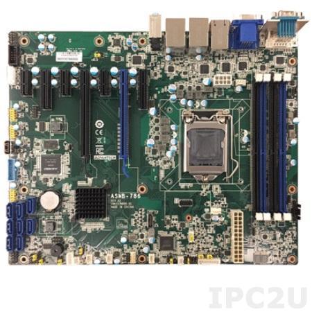 ASMB-786G2-00A1E Серверная плата ATX, поддержка Intel Core i3/i5/i7 8th Gen Xeon E, LGA1151, 4xDDR4 2133/2400/2666 МГц до 64 ГБ ЕСС, DVI, VGA, HDMI, 2xCOM, 4xUSB 3.1, 2xGbE LAN, 8xSATA III, RAID 0,1,5,10, Аудио, питание 12 В DC
