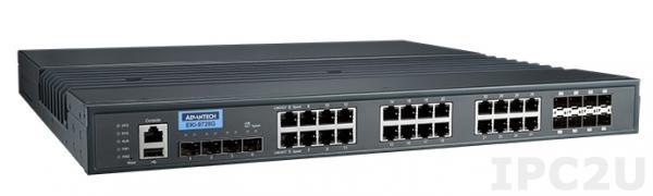 EKI-9728G-4X8CI-AE Управляемый Ethernet коммутатор 3 уровня, 4 порта 10GbE SFP + 16 портов GE RJ-45 + 8 комбо портов GE, -40...+85C