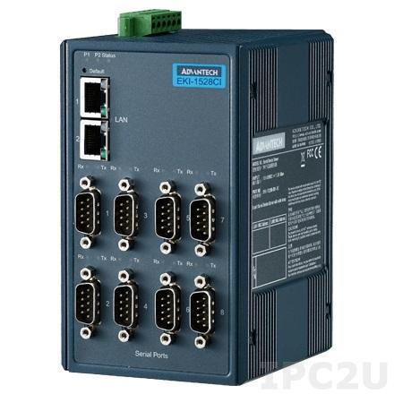 EKI-1528I-DR-AE Преобразователь последовательных интерфейсов, 8xRS-232/422/485 разъем DB9 Male, 2xLAN, 12...48В DC, -40...+75C, на DIN-рейку
