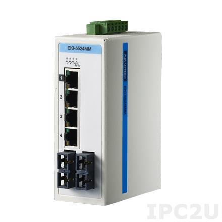 EKI-5524MMI-ST-AE Неуправляемый коммутатор Ethernet, 4-порта 10/100M + 2 оптических порта (Multi-mode), ST-разъем, -40...+75C