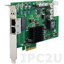 PCIE-1672V-CE Сетевая карта видеозахвата, 2 порта 10/100/1000 c PoE, PCI Express x4, IEEE 1588, Link Agregation, 8кВ ESD, 2кВ EFT, с функцией On/Off PoE