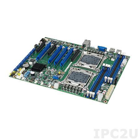 ASMB-823-00A1E Серверная процессорная плата ATX, Intel Xeon E5 2600(v3/v4), чипсет Intel С612, до 192Гб DDR3, 1xVGA, 2xGb LAN, 9xSATAIII, 3xUSB 2.0, 6xUSB 3.0, 4xPCIe x16, 3xPCIe x8, Аудио, напряжение питания 12В DC