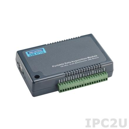 USB-4711A-AE Модуль ввода-вывода, 16xAI 150 кГц, 2xAO, 8xDI, 8xDO, USB