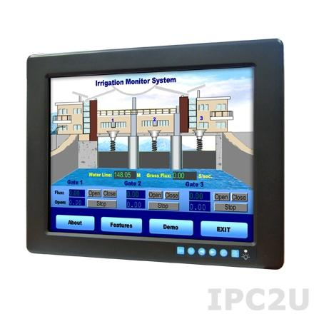 """FPM-3121G-R3BE Промышленный 12.1"""" TFT LCD LED монитор с сенсорным экраном (интерфейс RS-232), 1024x768, яркость 450 нит, VGA, DVI-D, питание 24В DC клеммная колодка и 12В DC Jack"""