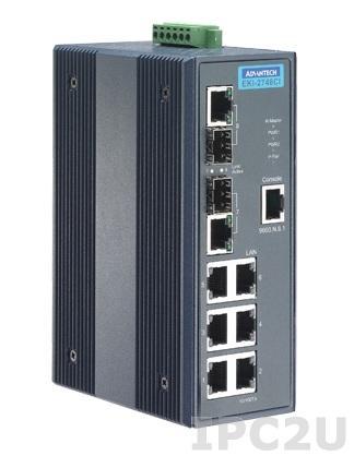 EKI-2748CI-AE Управляемый коммутатор Ethernet 6Gx + 2 Combo порта, расширенный диапазон рабочих температур