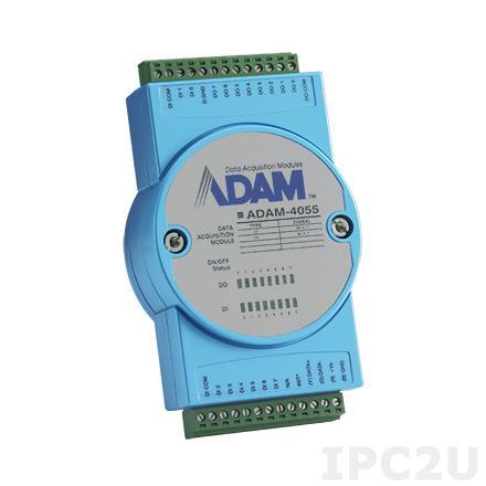 ADAM-4055-C Модуль ввода - вывода, 8 каналов дискретного ввода, 8-каналов дискретного вывода с изоляцией и индикацией, Modbus RTU/ASCII, 10-30VDC