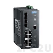 EKI-2712G-4FPI Неуправляемый коммутатор Gigabit Ethernet, 8 портов RJ-45 PoE + 4 порта SFP, IEEE802.3af/at, -40...+75C