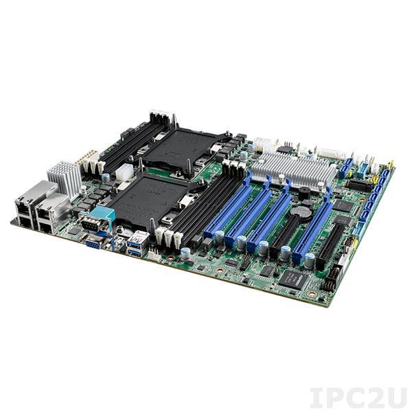 ASMB-825I-00A1E Серверная процессорная плата ATX, поддержка процессоров 2х Intel Xeon Scalable, чипсет Intel C621, до 192Гб DDR4 ECC RDIMM, VGA, 2xGb LAN, 8xSATA 3, 4xUSB 3.0, 4xPCIe x16, 2xPCIe x8, Audio, SMBus, IPMI
