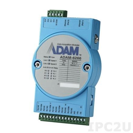 ADAM-6266-B Модуль ввода-вывода, 4 канала дискретного ввода, 4 канала дискретного вывода с реле, 2xEthernet, Modbus TCP