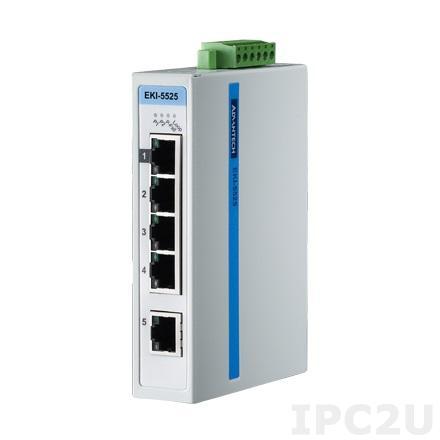 EKI-5525I-AE Неуправляемый коммутатор Ethernet, 5 портов 10/100Mbps , -40 ~ +75C