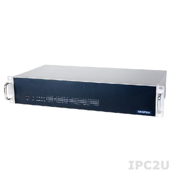 "ECU-4784-E56SAE Промышленный безвентиляторный компьютер 2U в 19"" стойку, Intel Xeon E3-1505L 2.0ГГц, 16Гб ECC DDR3L, 2x2.5"" SATA HDD (RAID 0,1), CFast, VGA, DVI, 10xCOM, 8xLAN, 6xUSB, 1xPCIe x1, 1xPCI"