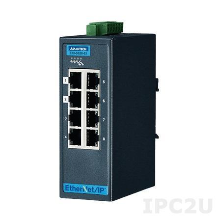 EKI-5528I-EI-AE Управляемый коммутатор Ethernet, 8 портов Fast Ethernet RJ-45, поддержка Ethernet/IP, -40...+75C