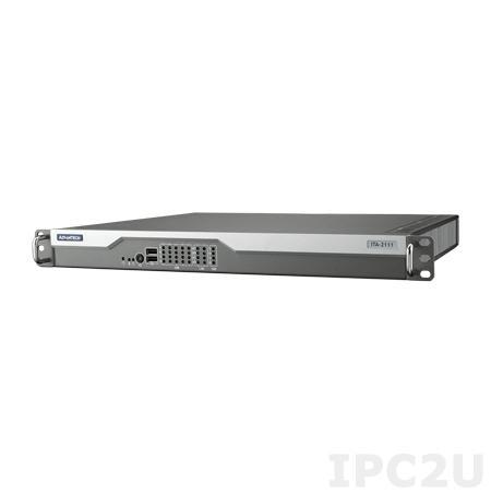 "ITA-2111-00A1E Промышленный безвентиляторный компьютер 1U в 19"" стойку для ж/д, Intel Atom E3845 1.91ГГц, 4Гб DDR3, VGA, DVI-D, 4xGbE LAN, 10xCOM (RS-232/422/485), 6xUSB 2.0, 1xUSB 3.0, один разъем питания AC DC"