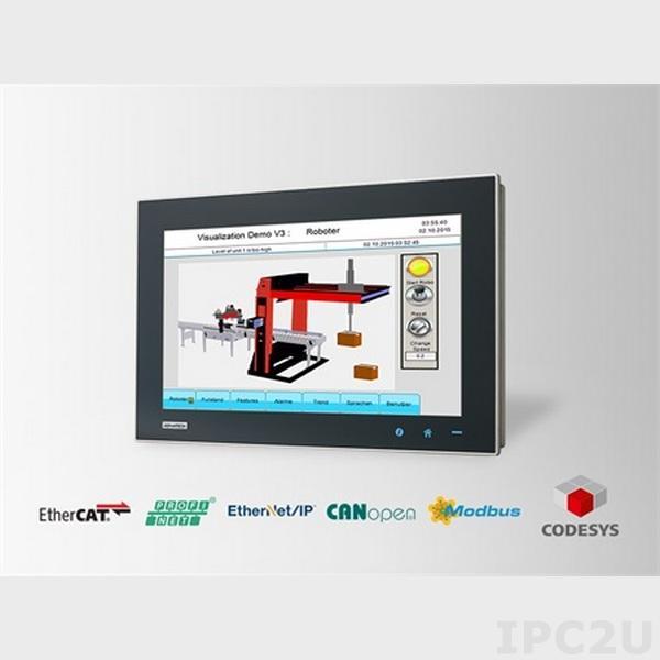 WA-CT1581W-3RHE5AE Безвентиляторная панельная рабочая станция с 15.6 WXGA TFT LED LCD, емк. сенс.экран, Intel Core i3-4010U 1.7ГГц, 4Гб DDR3L, 2Мб MRAM, 128Гб SSD, 1xCFast, 2xCOM, 2xUSB 3.0, HDMI, 2xLAN, 1xMini-PCIe, Аудио, питание 24В DC, Control RTE & Visua., WES7P