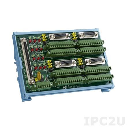ADAM-3956-AE Плата клеммников с разъемами 100-pin SCSI, монтаж на DIN-рейку, для четырехосных систем управления движением, до 50В