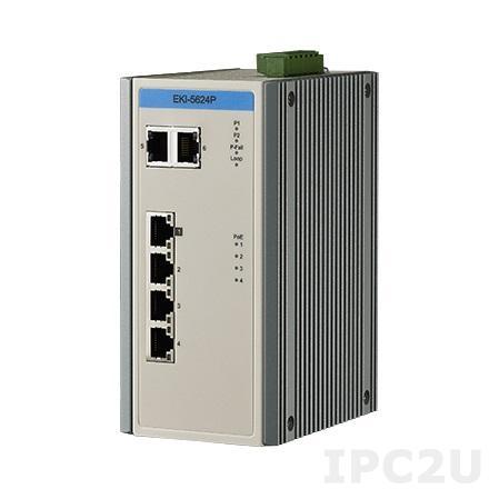EKI-5624PI-AE Неуправляемый Ethernet-коммутатор, 4FE PoE+2G , IEEE802.3af/at, E-Mark, 12V~24VDC, -40~75