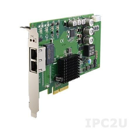 PCIE-1672E-AE PCI Express x4 сетевая карта 2 порта 10/100/1000, PoE, IEEE 1588, 8кВ ESD, 2кВ EFT, IEEE-1588 PTPv2