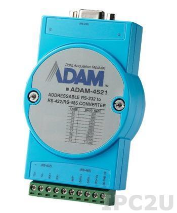 ADAM-4521-AE Адресуемый конвертер RS-232 в RS-422/485, изоляция на стороне RS-232, -10...+70С
