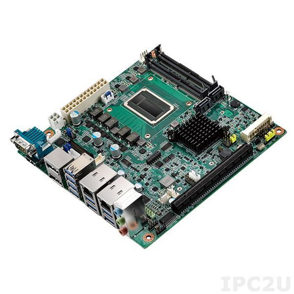 AIMB-242QG2-M7A1E Процессорная плата Mini-ITX, Intel Core i7-6822EQ 2.0ГГц, Intel QM170 PCH, DDR4 RAM, Dual DP++/HDMI/LVDS(eDP), 2xGB LAN, 2xCOM, 8xUSB 3.0, 2xSATA 3.0, PCIe x16, 2xMiniPCIe, Audio, M.2