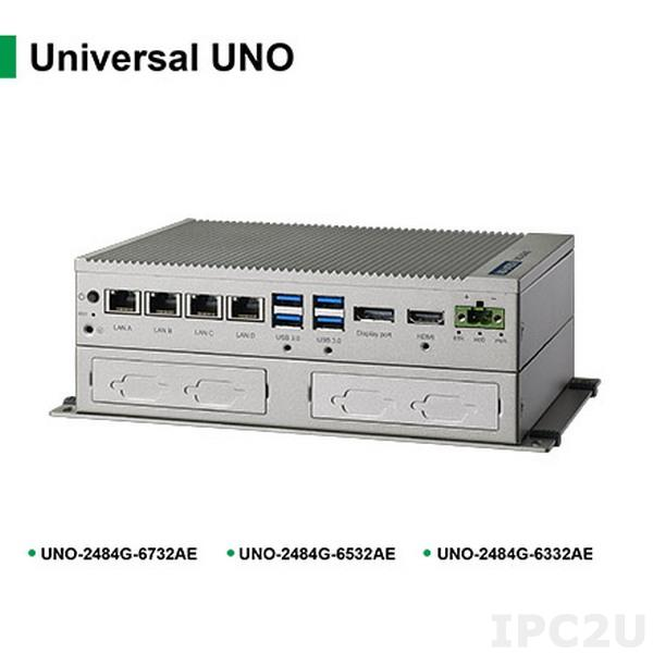 UNO-2484G-6332AE Встрaиваемый компьютер с CPU Intel Core i3-6100U 2.3ГГц, 8Гб RAM, 4xCOM, 4xGbE LAN, 4xUSB3.0, 1x mPCIe, -20...+60C