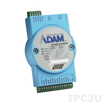 ADAM-6160PN-AE Модуль вывода, 6 каналов дискретного вывода с реле, PROFINET
