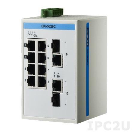EKI-5629CI-AE Неуправляемый коммутатор Ethernet, порты 8x10/100BaseT(X), 2x10/100/1000Base-T(X)/SFP, ATEX/C1D2/IECEx, -40...75